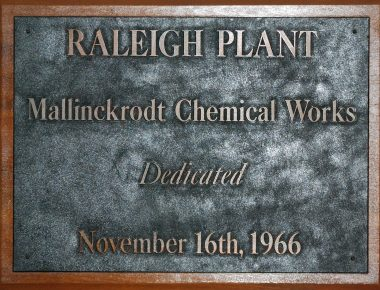 A plaque depicts the Raleigh plant's dedication in November 1966.