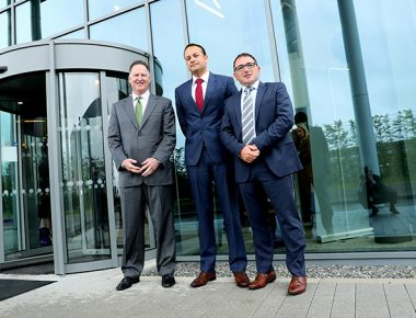 15/05/2017 NO REPRO FEE, MAXWELLS DUBLIN Mallinckrodt opens new global centre for medical device R&D Mallinckrodt consolidates global medical device R&D activities to new centre in Blanchardstown creating 45 new roles in device engineering Pic shows ( l to r ) Mark Trudeau, President and Chief Executive Officer of Mallinckrodt, Leo Varadkar, Minister for Social Protection and Dr. David Keenan, Vice President, Global External Supply and Managing Director, Mallinckrodt Pharmaceuticals, Ireland. Mallinckrodt plc (NYSE: MNK), a leading specialty pharmaceutical company, officially opened its new global medical device engineering centre at its campus at the College Business and Technology Park in Blanchardstown, Dublin 15. Mallinckrodt is consolidating global device research and development (R&D) activities to this new centre, creating 45 highly skilled jobs in a range of disciplines including product design, core electronics, electro-mechanical engineering and software development.nThe opening of this new R&D facility brings Mallinckrodt's total investment at its Cruiserath Road location to €95 million and the creation of 120 new jobs in a variety of areas including manufacturing, supply chain management and other support functions. This project is supported by the Department of Jobs, Enterprise and Innovation through IDA Ireland. PIC: NO FEE, MAXWELLPHOTOGRAPHY.IE
