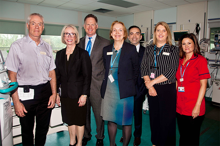 From left, are Dr Paul Crawshaw, Consultant Neonatologist; Meredith Fisher, Chief Public Affairs Officer, Mallinckrodt; Mark Trudeau, President and Chief Executive Officer, Mallinckrodt; Aileen McLeish, Trust Chairman, Mark Tyndall, Vice President of Government Affairs, Mallinckrodt; Louise McKenzie, Trust Director of Workforce Transformation; and Sara Robertson. Matron on the Neonatal Intensive Care Unit.